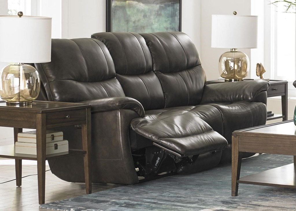 Bassett Brookville Leather Reclining Sofa With Power Head And Foot Rests -  Great American Home Store - Reclining Sofas